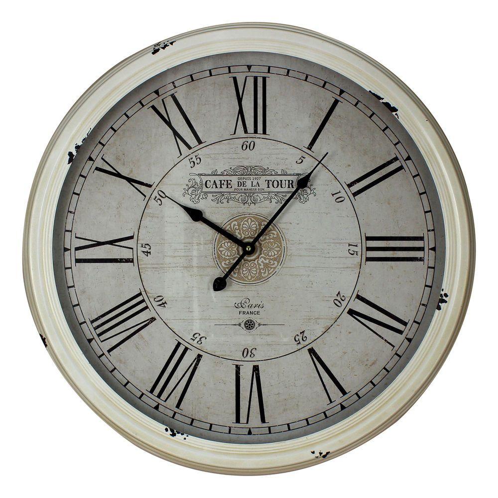 Antiguo Crema Grande Decorativas Reloj De Pared Números Romanos ...