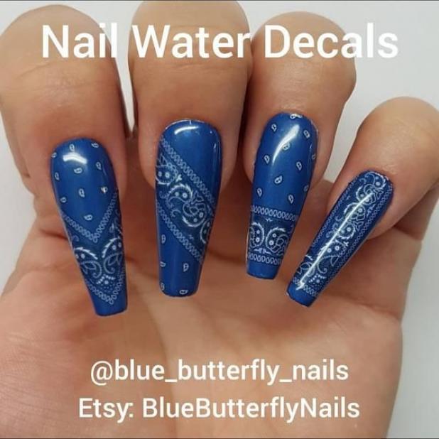 1163 Blue Paisley Bandana Bandanna Nail Water Decal Stickers Slider Transfer Tattoo Celebrity Nail Celebrities Celeb In 2020 Nails Bandana Nails Nail Polish Colors