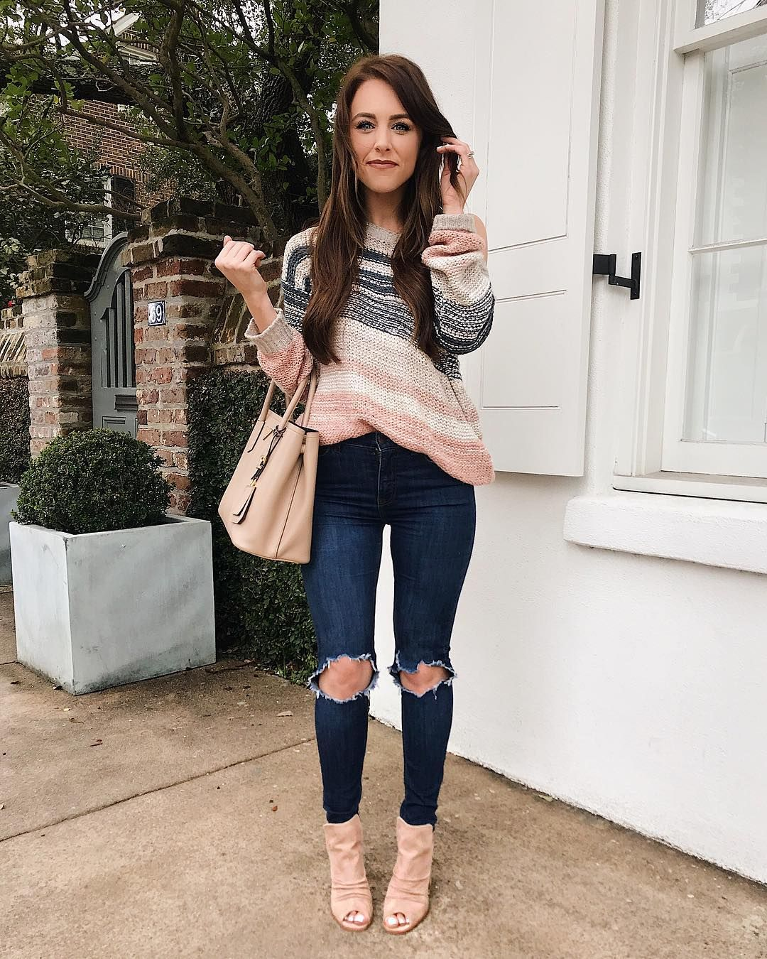 sweater and dark blue jeans with heels  fashion classy