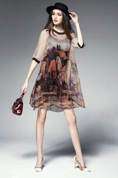Comprar vestido estampado de seda
