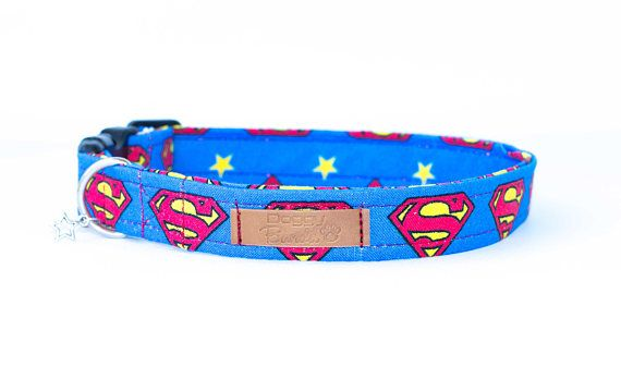 Superman Dog Collar Cartoon Navy Dog Collar Bright Hipster Dog Collar Comic Superhero Dog Collar Marvel Hero Dog Collar Cool Boy Dog Collar