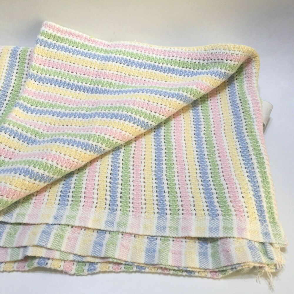 Vintage Pastel Stripe Baby Blanket 100 Cotton Made In Usa Springindustries Striped Baby Blanket Vintage Baby Blanket Flannel Baby Blankets