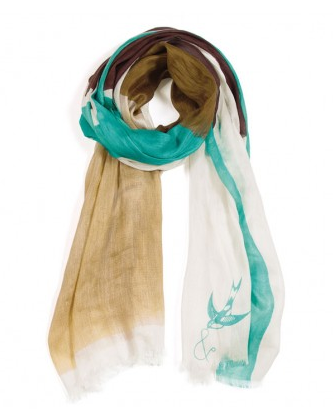 brown and aqua scarf