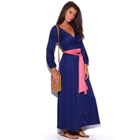 SaleDeep V Neck Blouson Kimono Dress Make a grand entrance in the stylish kimono inspired evening dress in any event! Featuring romantic blouson sleeves, the contrasting extra long sash can be tied and wrapped in multiple ways and full wrap design. Online. Stretchy. 95% polyester, 5% spandex made in USA.This item is not branded and comes with no tags Dresses Long Sleeve
