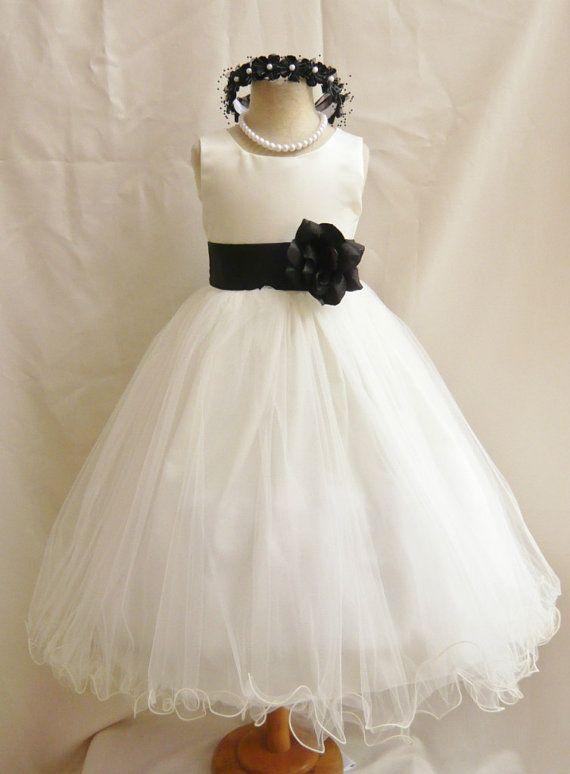Flower Girl Dress IVORY/Black FL Wedding Children Easter Bridesmaid ...