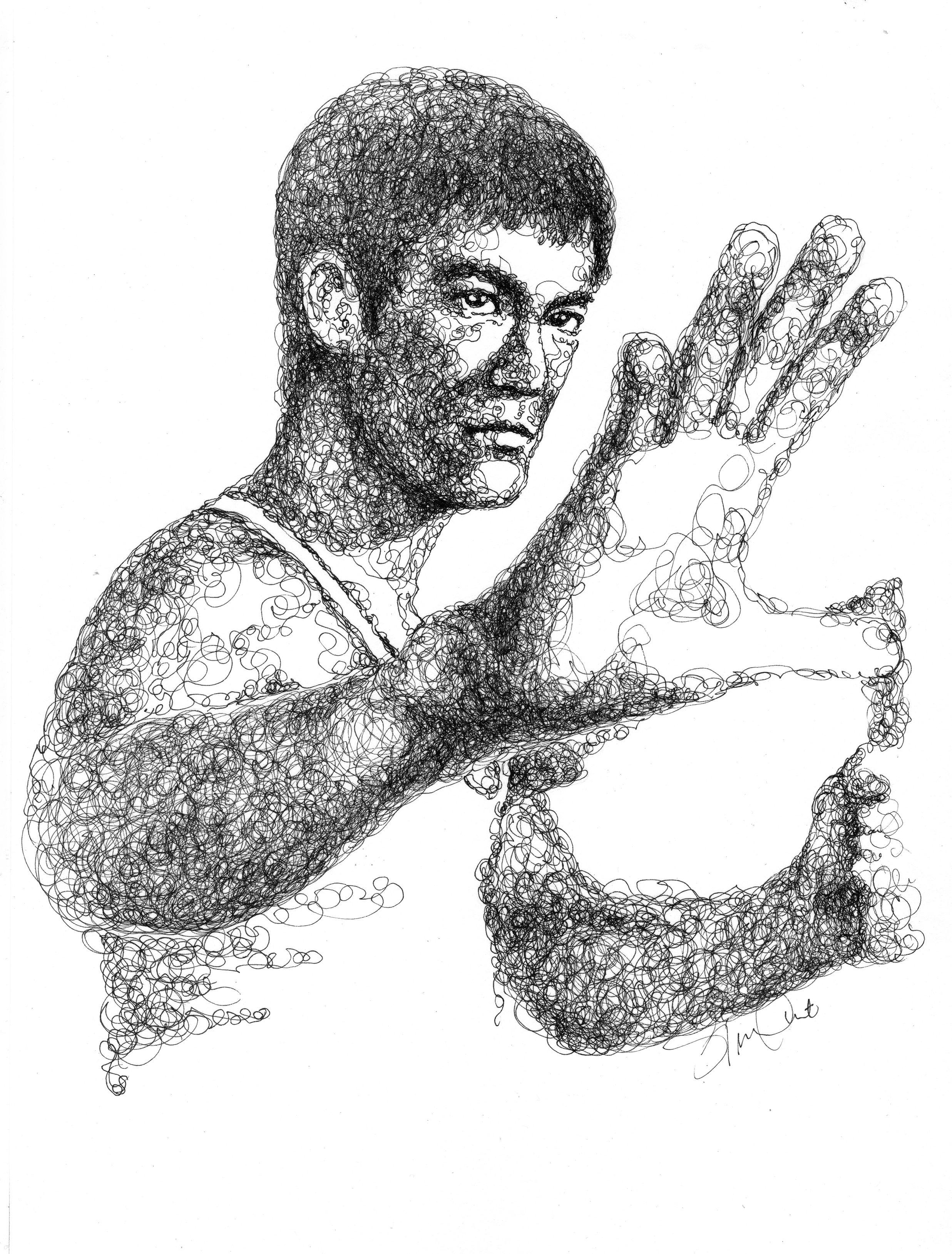 Bruce Lee Pen Ink Drawing Scribble Portrait Drawing By Sg Ong Bruce Lee Art Ink Pen Drawings Portrait Drawing