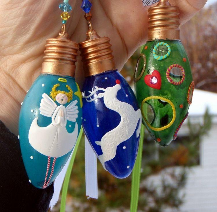 Weihnachtsdeko Aus Acryl.Baumschmuck Weihnachten Glühbirnen Gestaltung Farben Acryl Engel