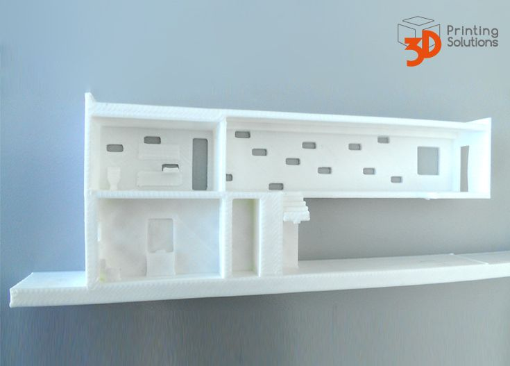 Detailed 3d Printed House Section Cut Look At The Stairs Bathroom Mirror