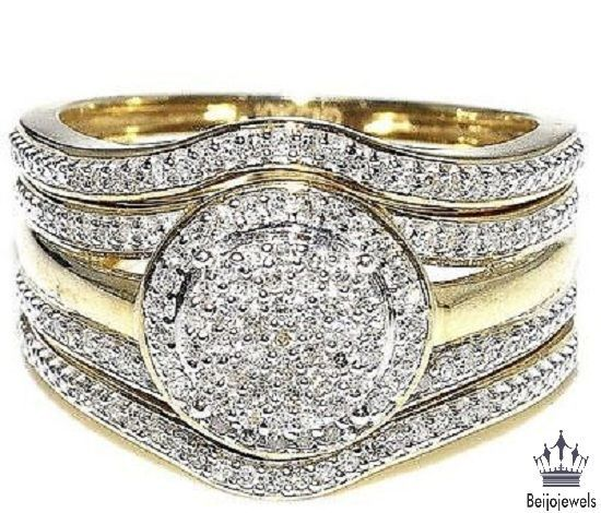 0.23 Ct 925 Silver 10K Yellow Gold Engagement Ring Wedding Band Trio Set