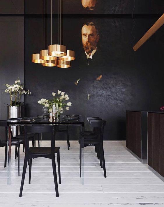 Dark Dining Room Modern Ideas Eetkamer Muren Goud Interieur Interieur