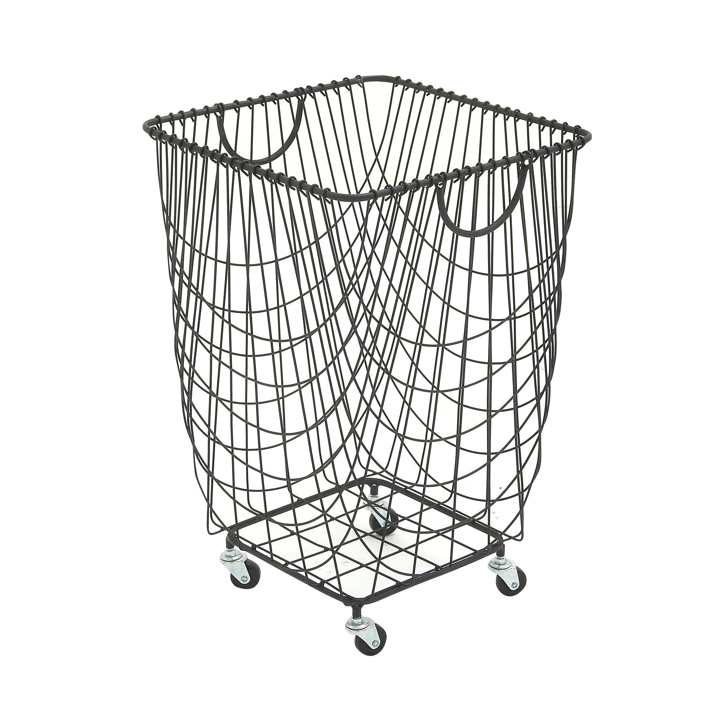 Large Rectangular Black Metal Laundry Basket With Wheels Handles