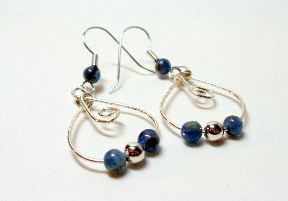 Kyanite Wire Wrapped Hoop Earrings- Silver Beads- Gemstone- Handmade ...