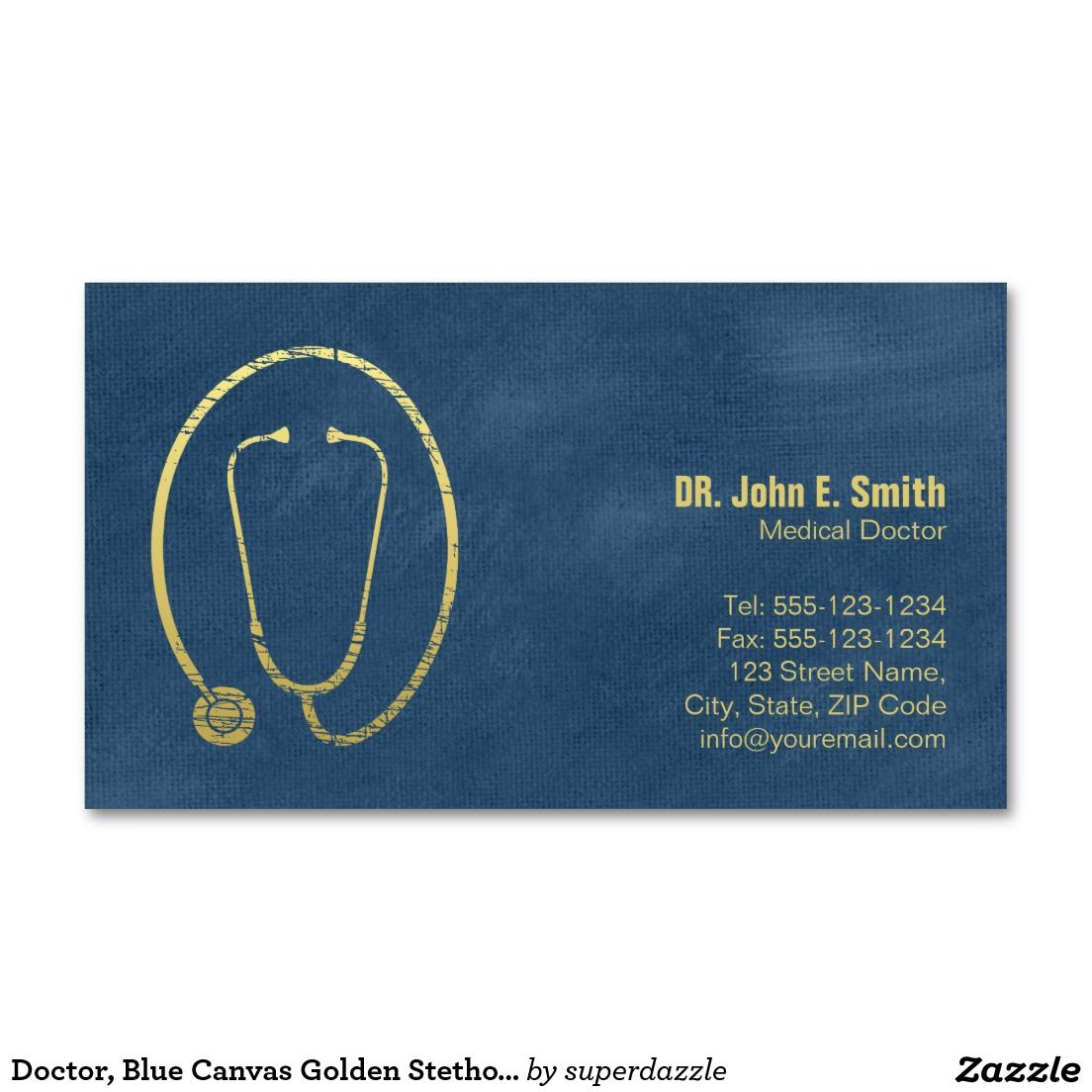 Doctor, Blue Canvas Golden Stethoscope Appointment business card ...