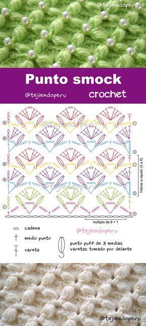 Punto smock tejido a crochet   Crochet   Pinterest   Tejido, Puntos ...