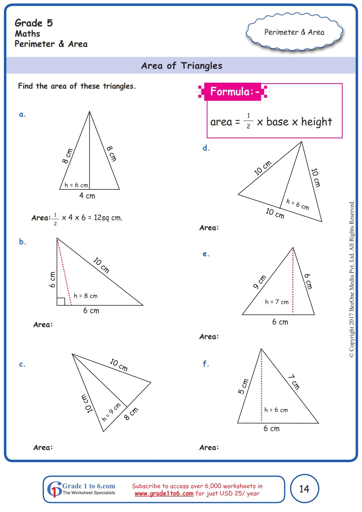 6th Grade Math Area Of Triangle Worksheets   Printable Worksheets and  Activities for Teachers [ 1754 x 1239 Pixel ]