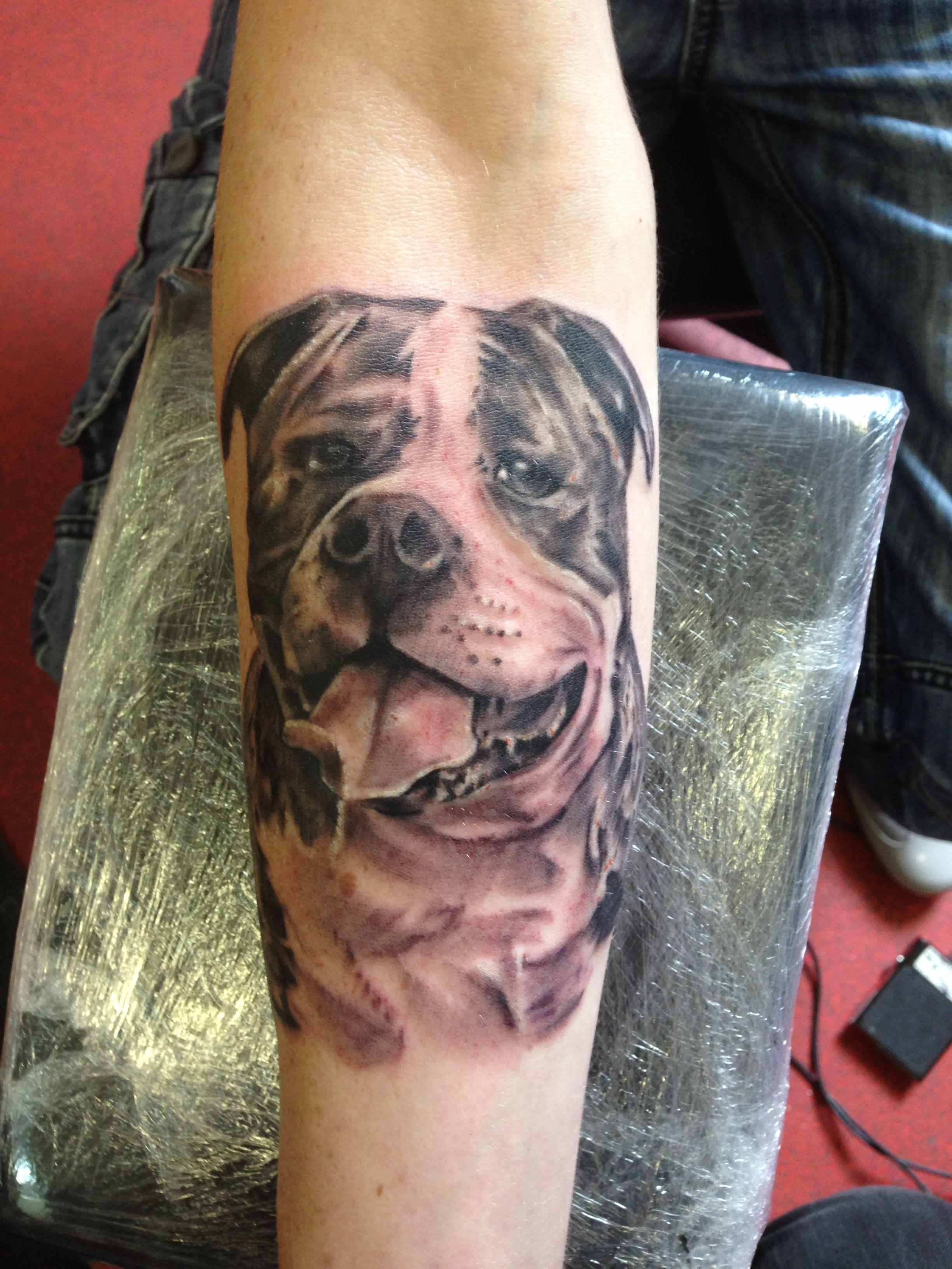 American bulldog Bulldog tattoo, Dog tattoos, Irish tattoos