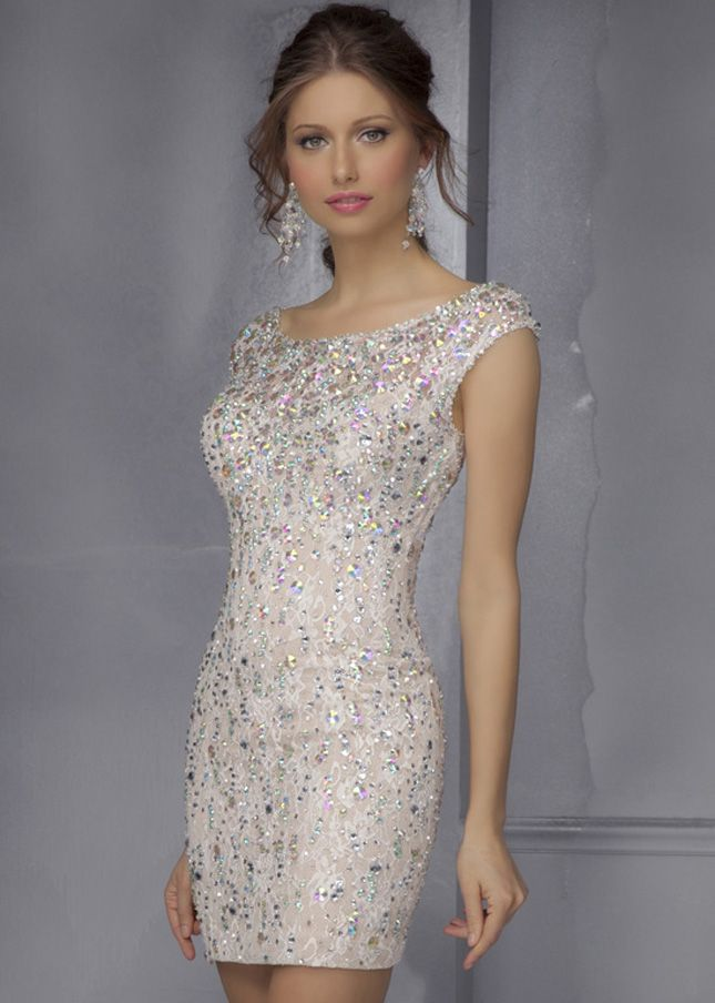 Mori Lee 9284 Champagne Colorful Beaded Lace Dress | homecoming ...