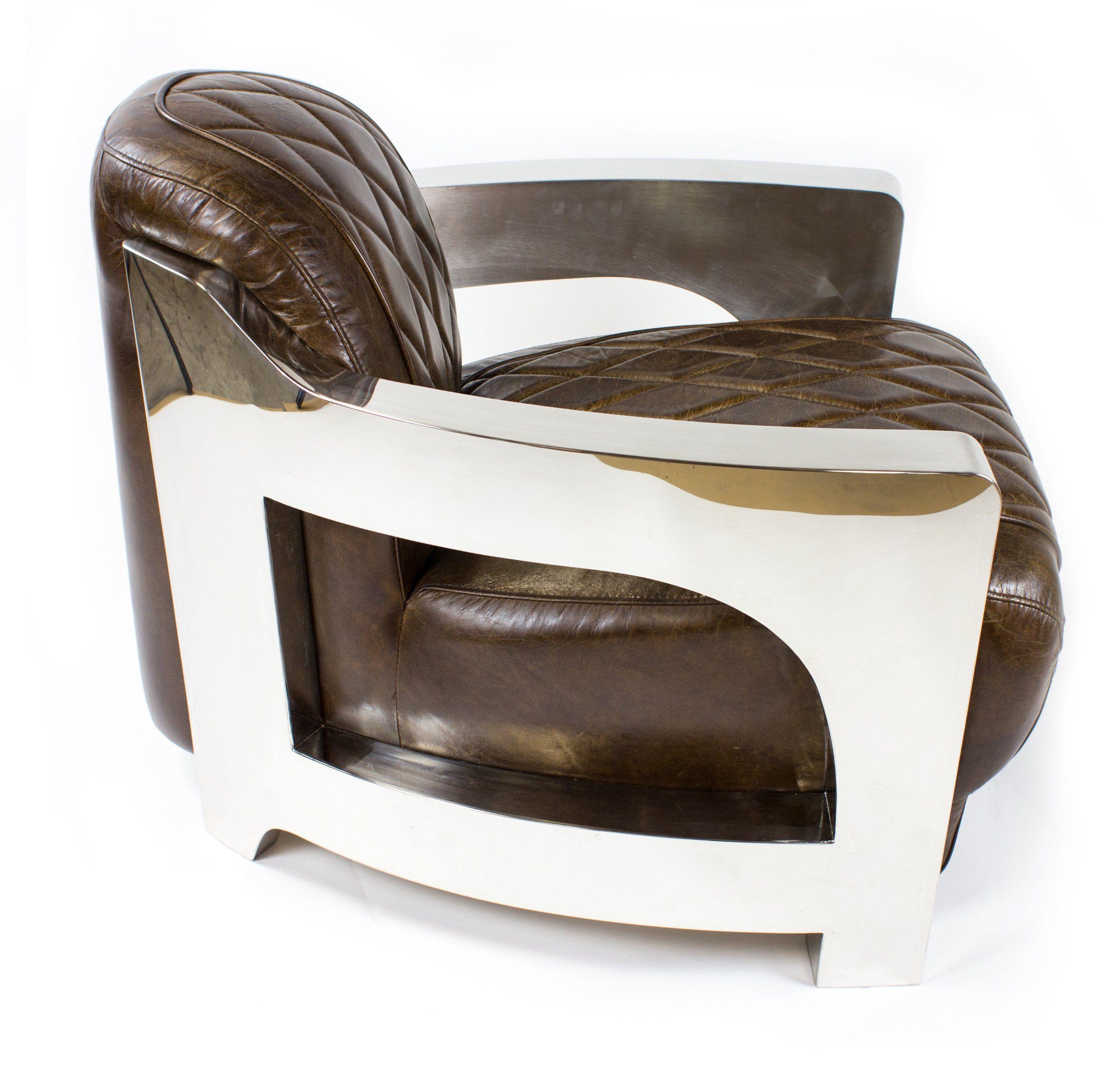 Vintage Echtleder Sessel Edelstahl Ledersessel Design Lounge Sofa ...