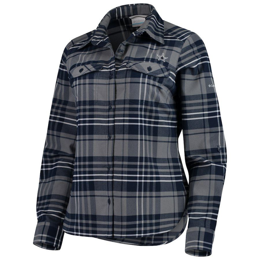 Columbia flannel jacket  Womenus Dallas Cowboys Columbia Navy Silver Ridge Flannel ButtonUp