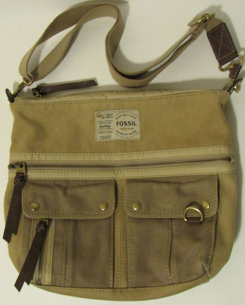 2d2e4dc1f Fossil Crossbody Bag Long Live Vintage Tan Taupe Canvas Dark Brown Leather  Trim #Fossil #MessengerCrossBody