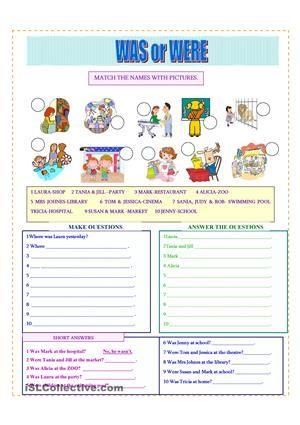 Helping Verb Worksheets For Was Were Material Escolar En Ingles Ingles Para Preescolar Como Aprender Ingles Basico