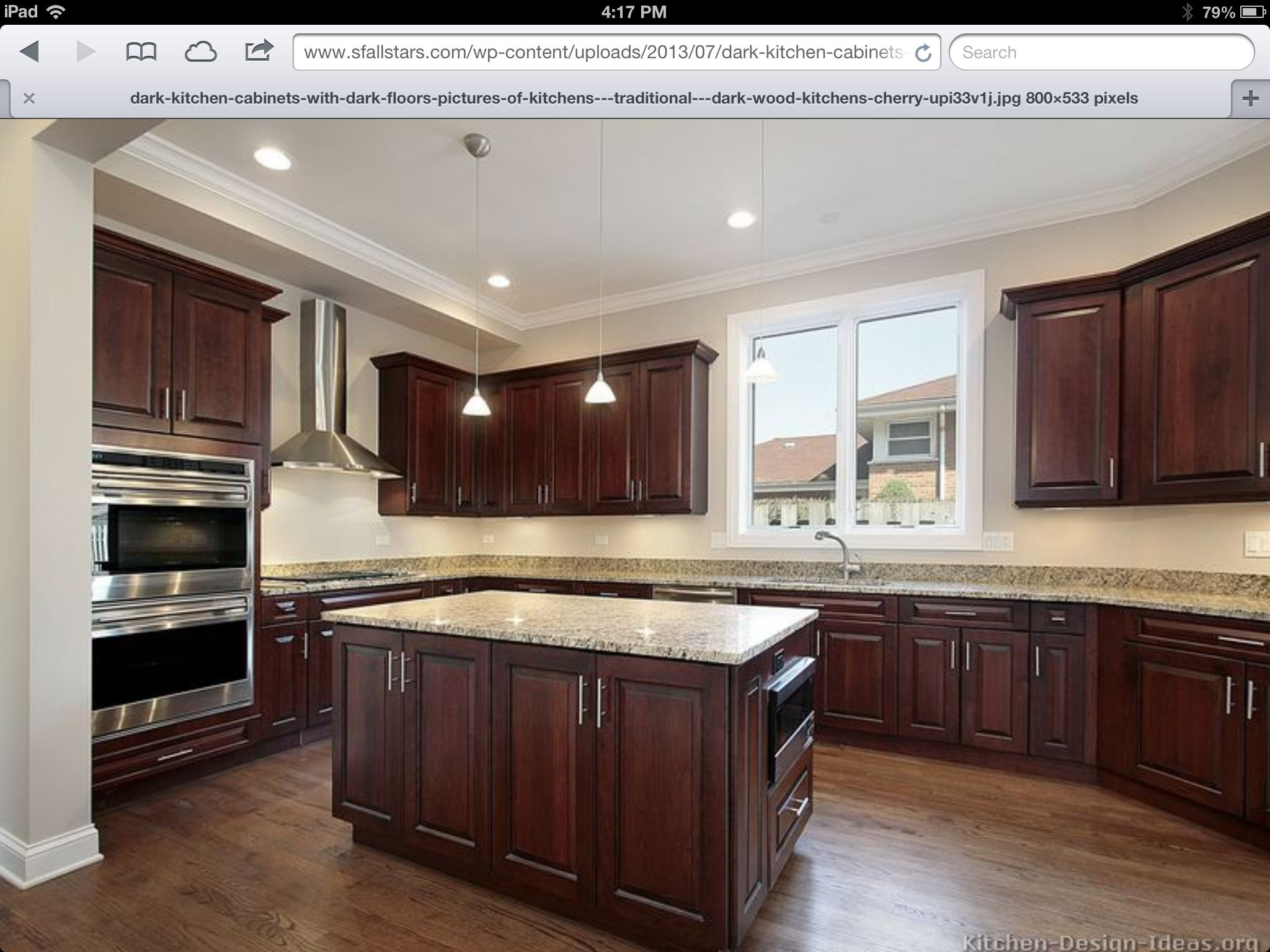 Dark Wood Cabinets In Kitchen Hickory Floors Cherry Cabinets Home Ideas In 2019