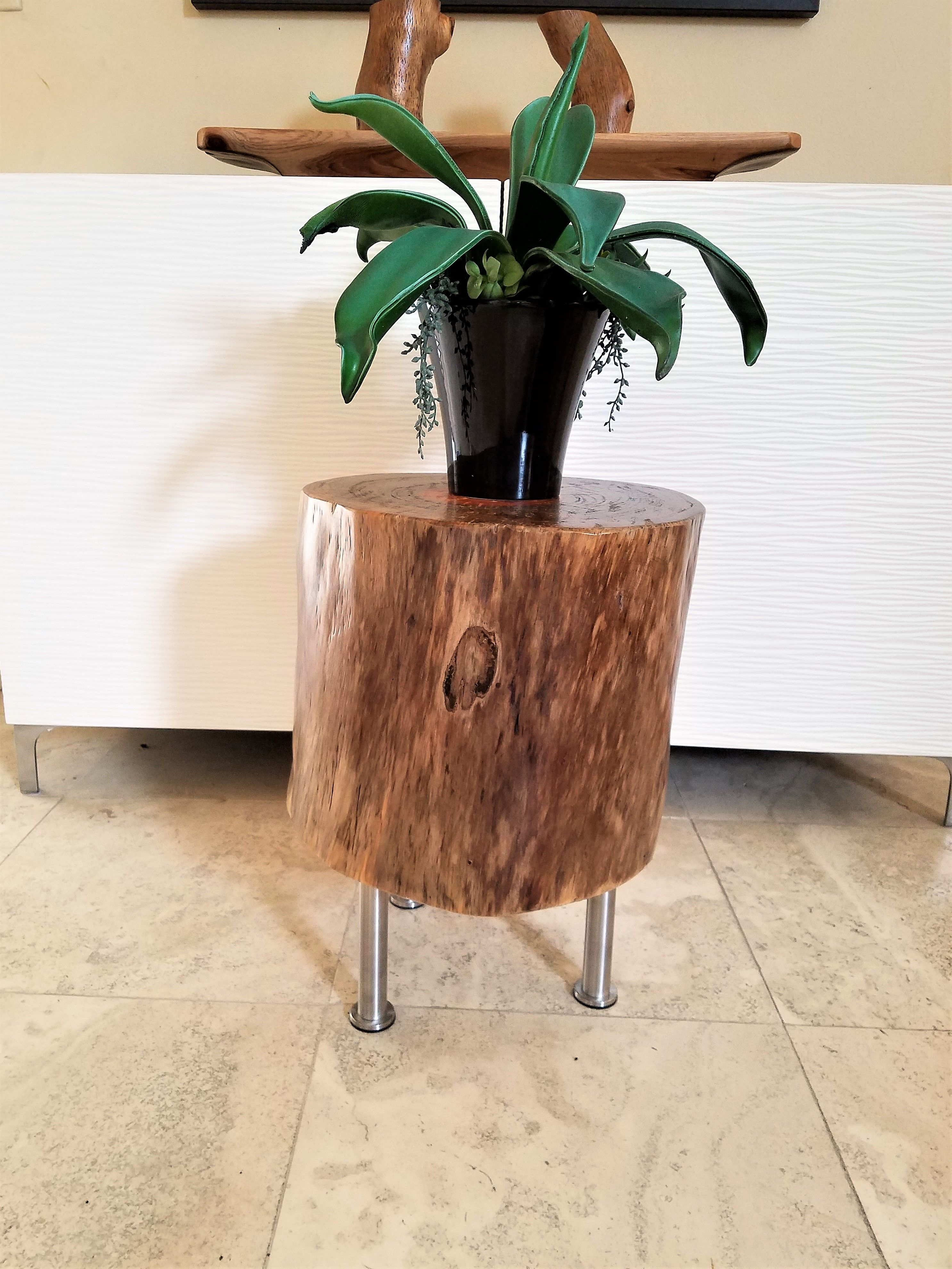 Swell A One Of A Kind Unique Pine Stump Table With Stainless Steel Home Interior And Landscaping Ymoonbapapsignezvosmurscom