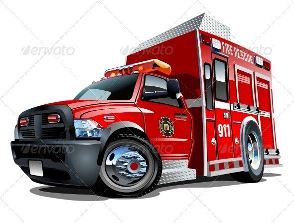 Vector Cartoon Rescue Truck Car Vector Trucks Truck Detailing