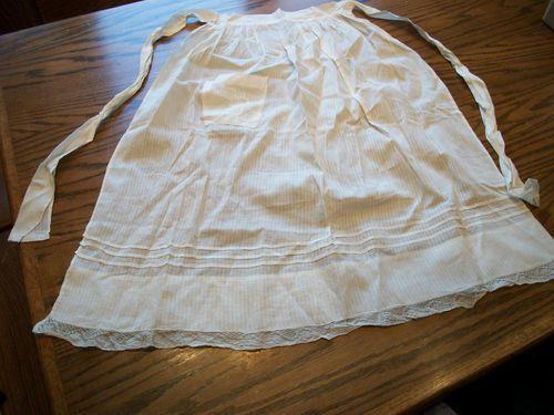 1950s Vintage Half Apron White Pin Striped Cotton and Lace w Pocket   eBay