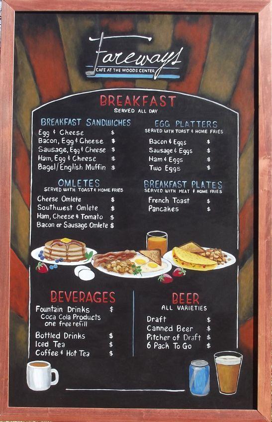 New Fareways Cafe Chalkboard Menus Breakfast Menu Design Coffee Shop Menu Chalkboard Menu