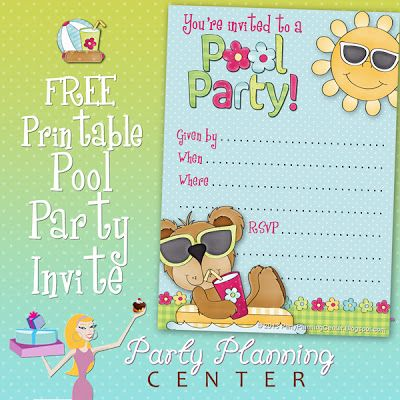 Party Planning Center Free Pool Party Invite Template party
