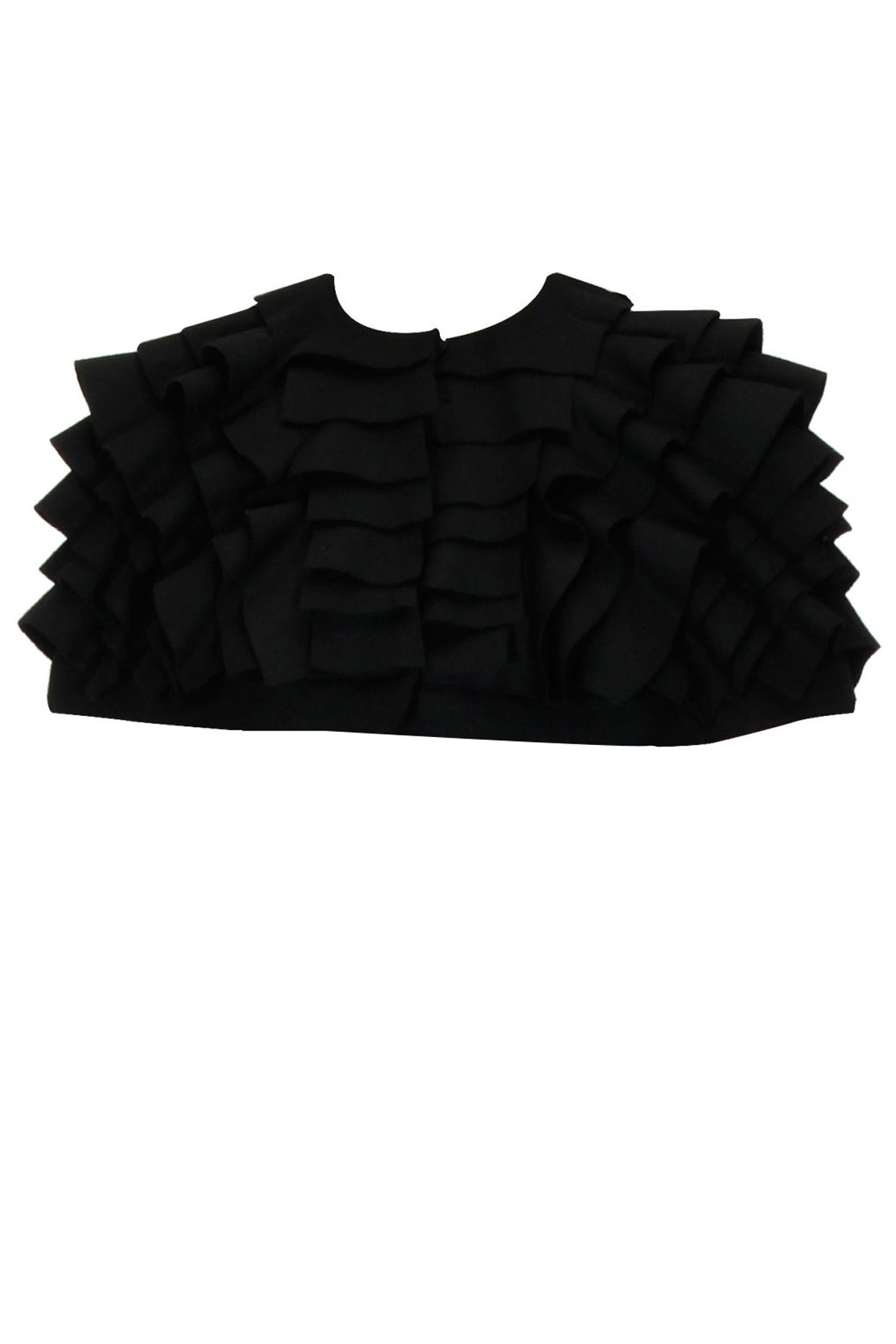 Black frilled short woolen cape available only at Pernia's Pop Up Shop.