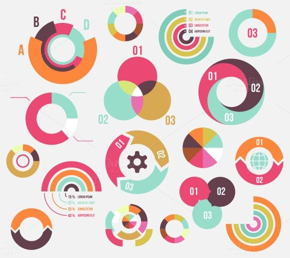 Circle charts by Microvector on Creative Market Graphs\/Charts - bubble chart
