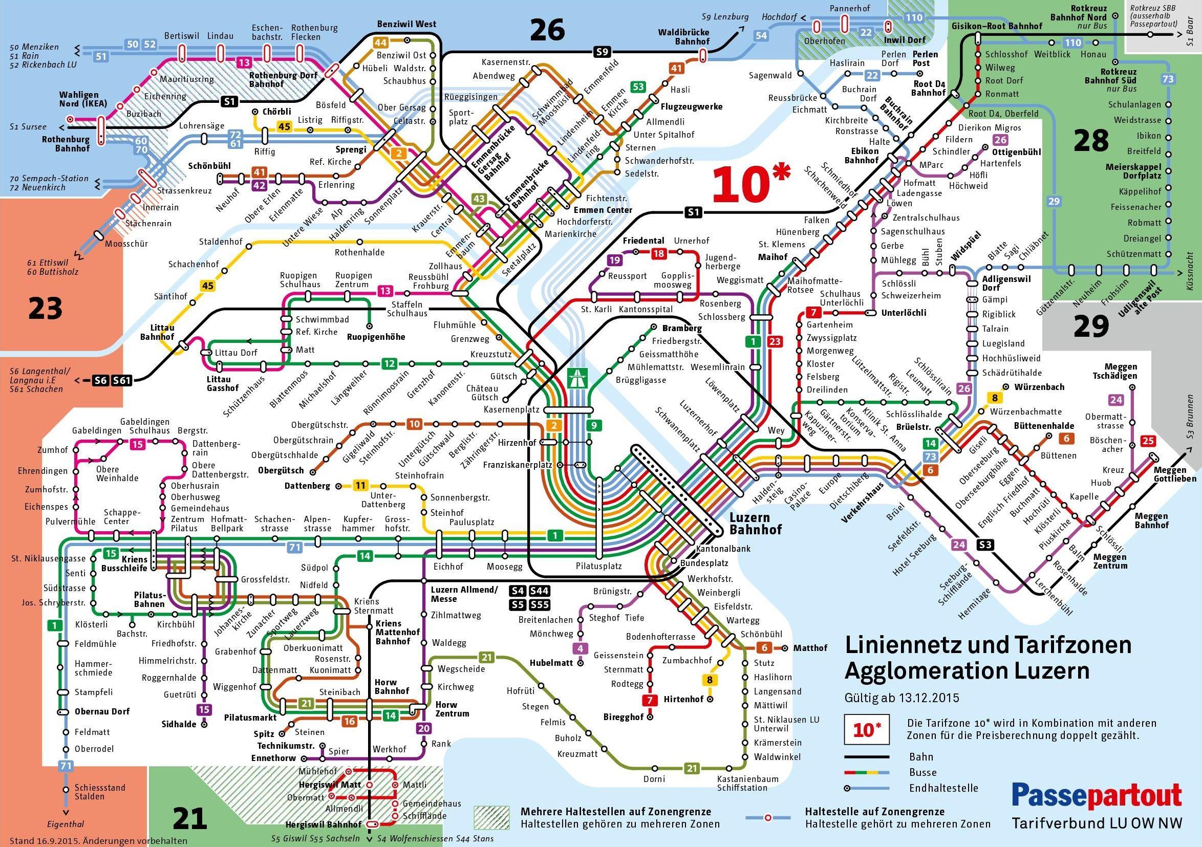 Lucerne Transport Map Luzern Verkehr Offentlicher Verkehr