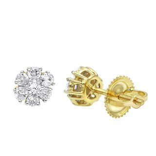 79659ef9ddcdf7 Luxurman Size: 2 Carat Look 14K Gold Cluster Diamond Stud Earrings for Women  1/Size: 2ct (Yellow)