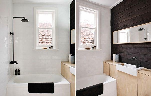 Spiegel Badezimmer ~ Holzschrank schwarze wand langer spiegel badezimmer ideen