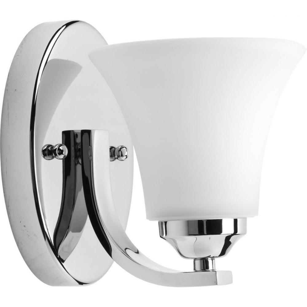 One Light Polished Chrome Etched Glass Bathroom Sconce NG - Chrome bathroom sconce lights