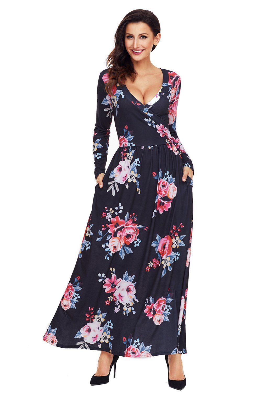 Black floral surplice long sleeve maxi boho dress long sleeve maxi