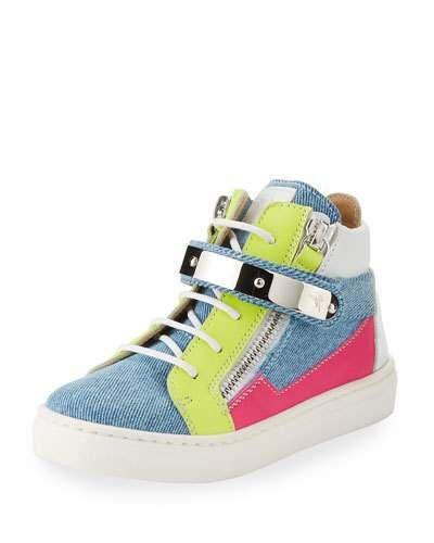beb411861f14 Giuseppe Zanotti Ares Denim Patchwork Sneaker
