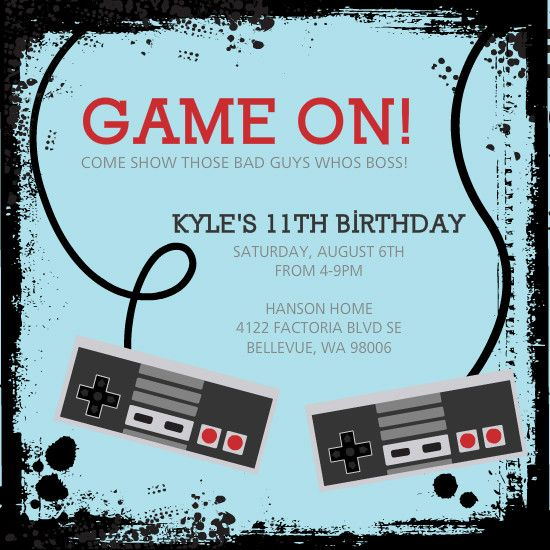 Video Game Controllers Kids Birthday Invitation Parties - Birthday invitation video