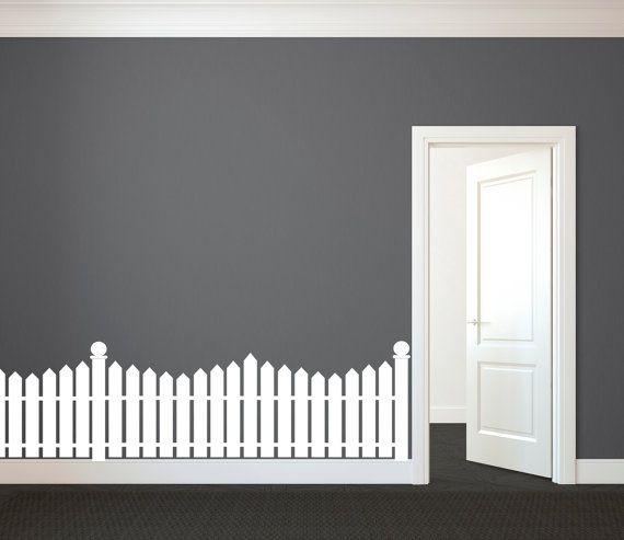 White Picket Fence Wall Decal Custom Vinyl Art Stickers For - Custom vinyl wall decals for classrooms