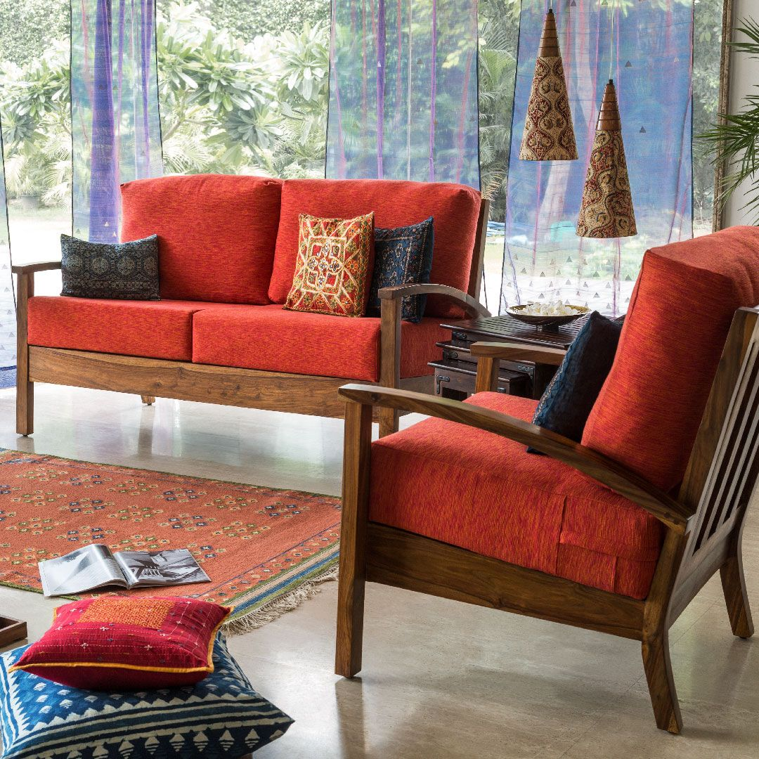 Cosy Living Furniture Sofa Red Upholstery Floor