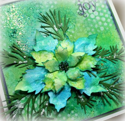 Paper Creations by Shirley: Green and Blue Poinsettias with Sea Bubbles