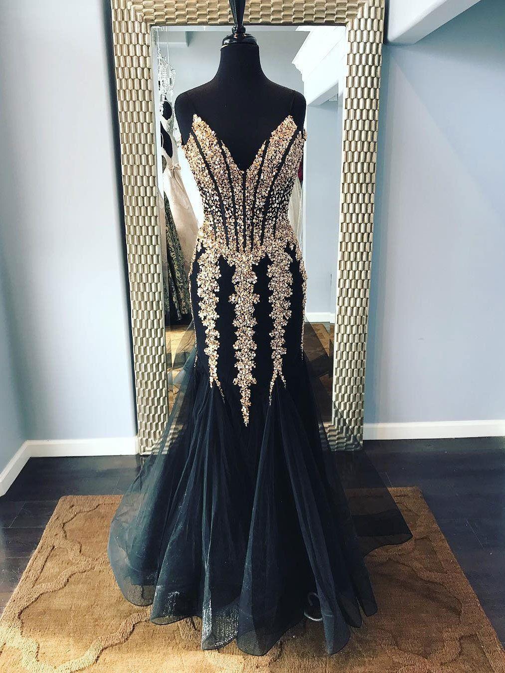 Vneck spaghetti strap shine long mermaid prom dresses apd
