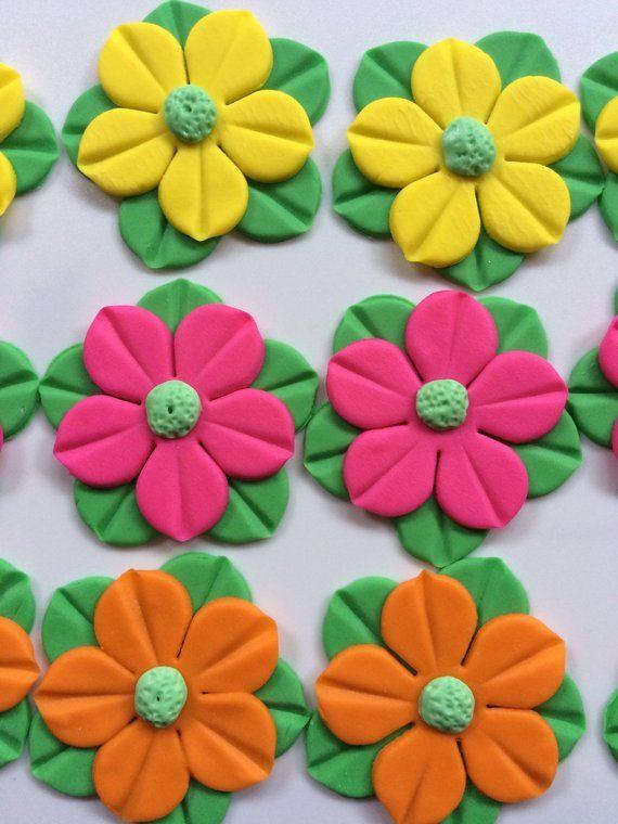 Fiesta Cake Topper 12pcs 2 Luau Fondant Flowers Hawaiian Edible Birthday Cupcake Toppe
