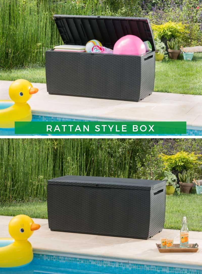 Rattan Style Box Capri 305 Liter Anthrazit Aufbewahrungsbox Anthrazit Box