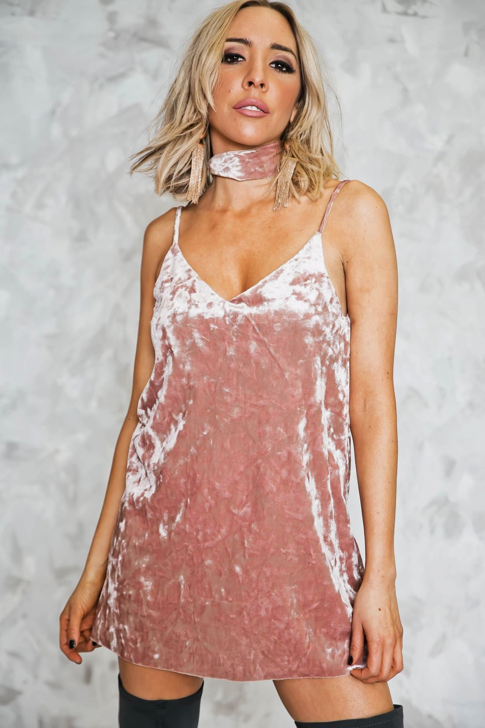 Velvet Rose Slip Dress with Scarf | Products | Pinterest