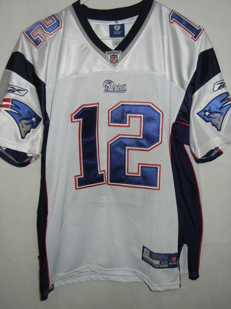 Tom Brady New England Patriots Reebok size 48 jersey sewn white  Reebok   NewEnglandPatriots 4c37896d8