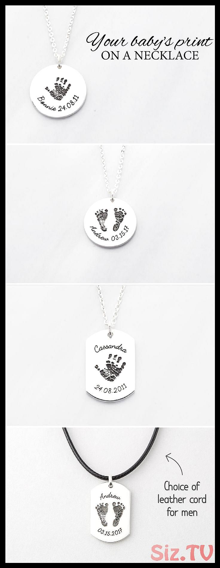 Baby Handprint Necklace Baby Footprint Necklace New Mom Necklace New Dad Necklace Custom Memorial Jewelry Baby Gift Ideas New Baby Handprint Necklace Baby Footprint Neckl...