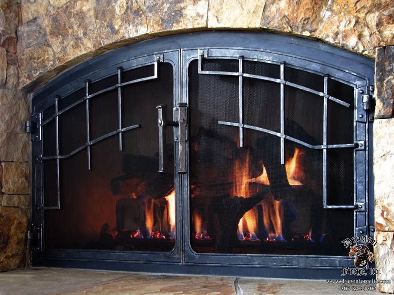 Slit And Drift Grill On Hand Forged Fireplace Doors Fireplaces